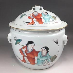 建国初世界和平 粉彩和合二仙大粥罐