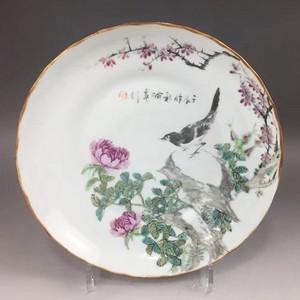 1892年 浅绛大名家喻春花鸟盘