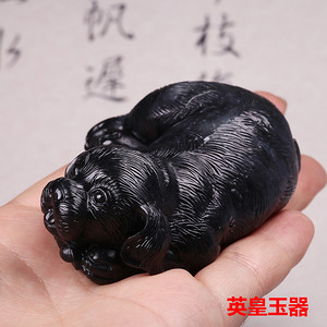和田玉把玩件天然墨玉摆件玉石手把件手玩件 生肖狗