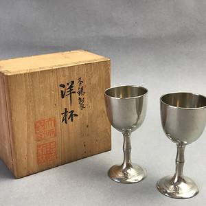 日本本锡制酒杯两个 带原装木盒