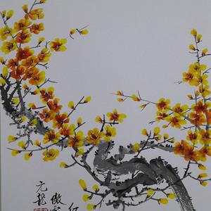 国际美联艺术家张国顺国画红梅傲雪图