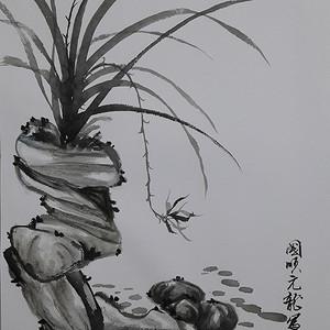 国际美联艺术家张国顺国画幽兰与古石