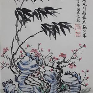 国际美联艺术家张国顺国画窗前凤竹影