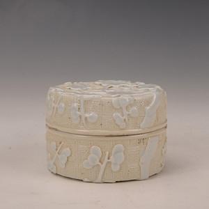 金牌 欧洲回流白釉刻花粉盒