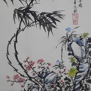 国际美联艺术家张国顺国画四君子图