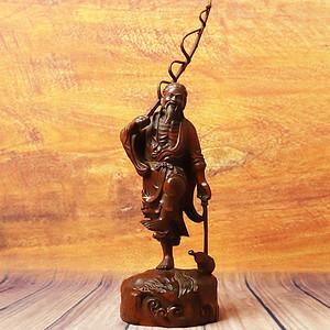 旧藏小叶黄杨木雕渔翁得利人物摆件
