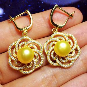 豪镶满钻!纯银镀14K黄金镶120颗锆钻完美金珠天然珍珠耳环