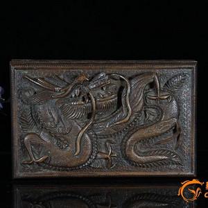 清代纯手工精雕满龙纹高浮雕老檀香木盒!