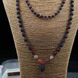 顶级阿拉善紫玛瑙原石籽料项链缠珠
