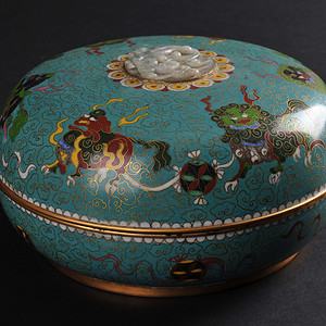欧美回流 老铜胎掐丝珐琅狮子绣球纹捧盒