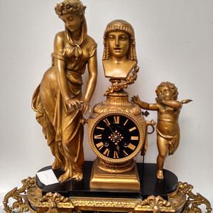 十九世纪法国造铜胎镀金神话人物故事座钟 欧洲直邮