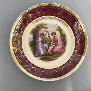 欧洲名瓷:古希腊神话故事人物粉彩描金花边大盘 13