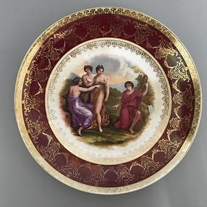 欧洲名瓷:古希腊神话故事人物粉彩描金花边大盘 14