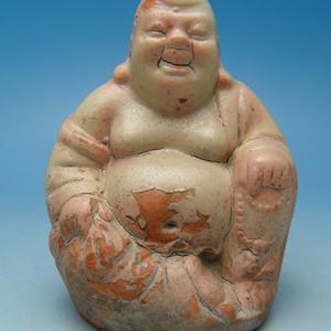 144.清代 青白釉弥勒佛造像