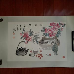 金牌 《已双重鉴定》当代著名画家:江野老师  精品花卉  香溢清远图