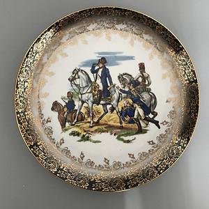 欧洲名瓷:拿破仑人物故事粉彩描金花边大盘15