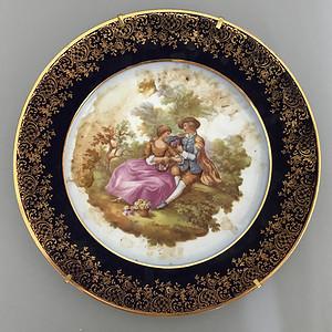 欧洲名瓷:罗密欧与朱丽叶粉彩溜金花边大盘17