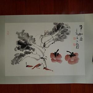 金牌 《已双重鉴定》当代著名画家:江野老师 精品花卉事事如意图