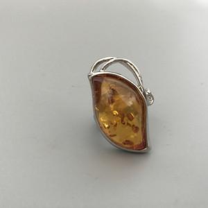 欧洲老银镶琥珀戒指 20