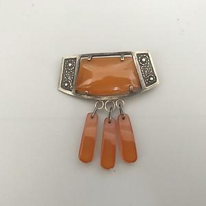 欧洲银镶蜜蜡胸针 28
