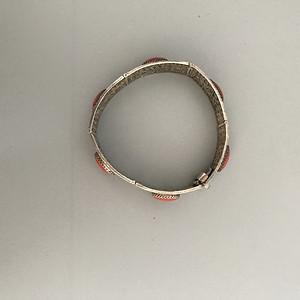 银质丝镶天然红珊瑚手镯 30