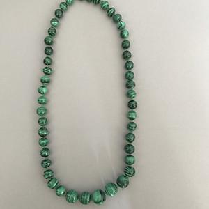 全天然孔雀石圆珠颈链 35