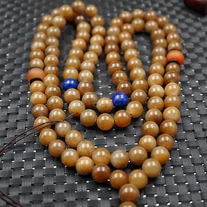 顶级和田糖玉108颗珠项链缠大珠 单珠直径12mm