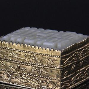 清 和田玉双喜印盒