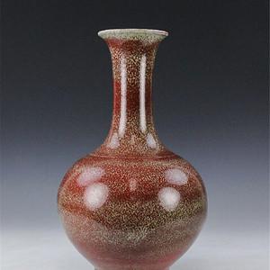清 中期红釉荸荠瓶