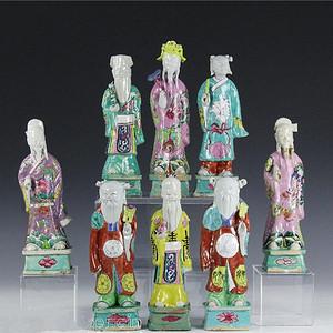 清 晚期粉彩八仙人物塑像