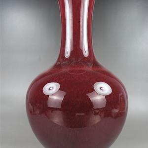 清 晚期红釉赏瓶