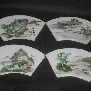 民国民家吴海峰浅绛山水瓷板四块