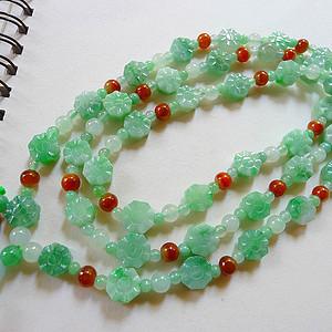 自然光实拍!天然A货好种绿项链.