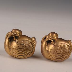 欧洲回流铜鎏金小鸡摆件