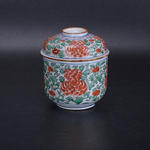 康熙 红绿彩盖罐