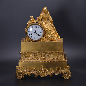 十八世纪中 法国 贵妇 铜鎏金座钟