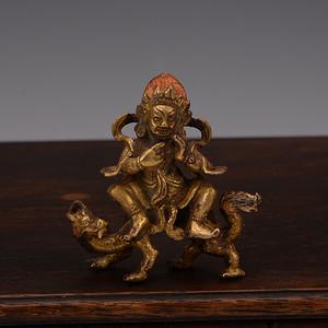 欧洲回流铜鎏金财神佛像