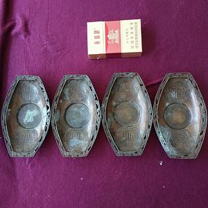 清代 福寿纹铜茶托4只