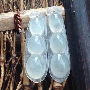 天然A货翡翠白冰种四季豆吊坠两件 P2297
