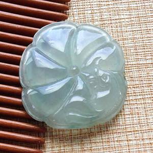 天然A货翡翠 冰种浅绿荷叶镶件 P2653