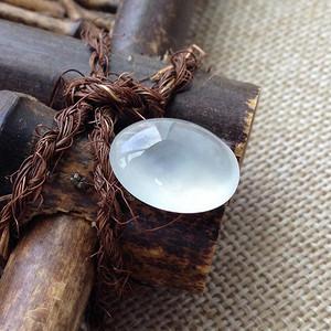 天然A货翡翠玻璃种蛋面镶件戒面 P2672