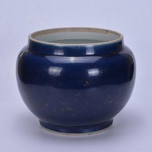乾隆 霁蓝釉 粥罐