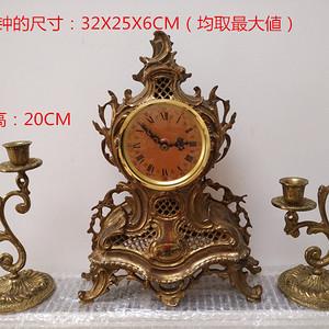 欧洲铜胎雕刻镂空烛台座钟 36