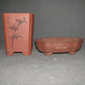 2个比较漂亮的文革紫砂盆
