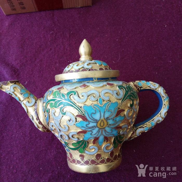 创汇期 景泰蓝 水滴茶壶图2