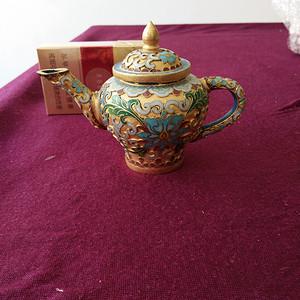 创汇期 景泰蓝 水滴茶壶