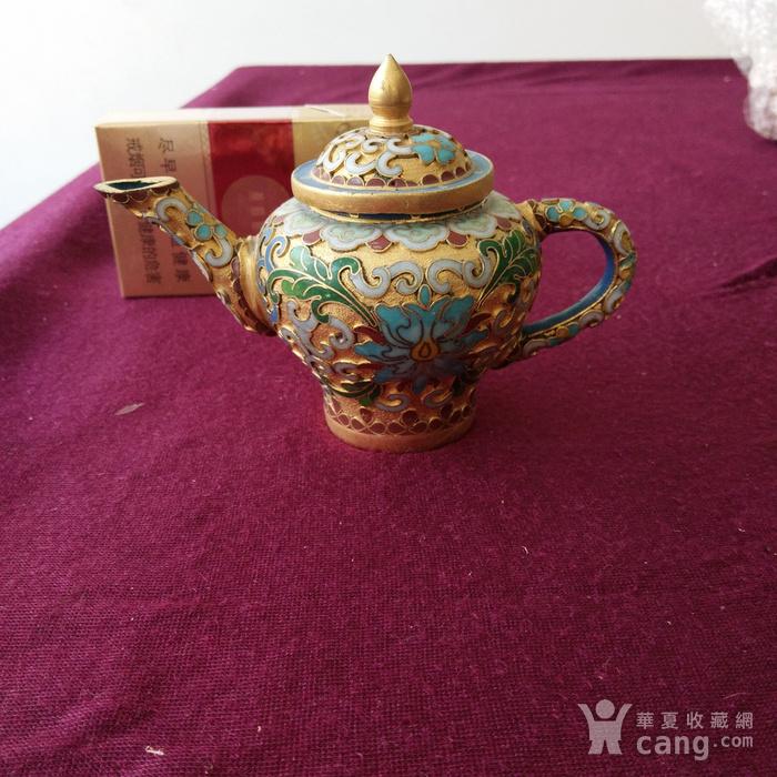 创汇期 景泰蓝 水滴茶壶图1