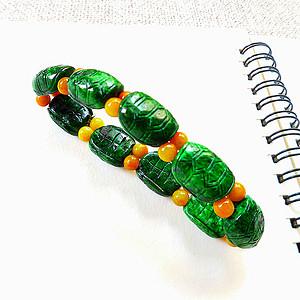自然光实拍!天然A货好种阳绿长寿手链