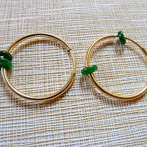 自然光实拍!天然A货好种阳绿14k耳环