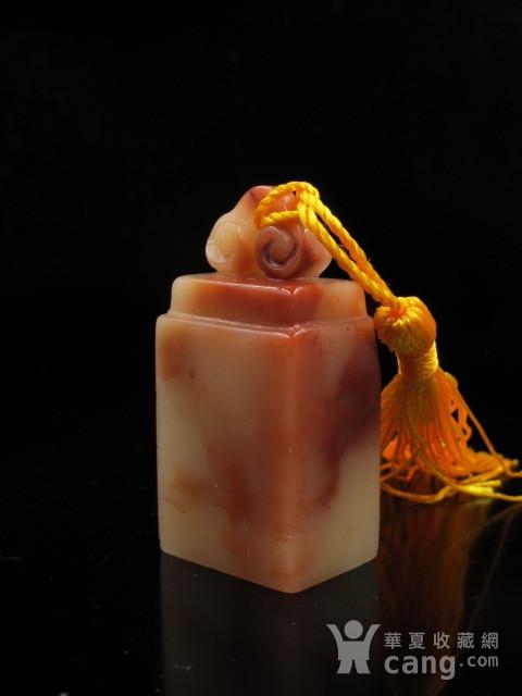 精品 寿山结晶老性红白芙蓉冻石如意钮图1